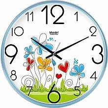 DIDADI Wall Clock Der schöne Garten Bild Kunst Wanduhr Kinderzimmer Schlafzimmer mute QUARZUHR, modernes Wohnzimmer mit Kalender, 14 Zoll, die normale Version blue-738