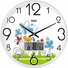 DIDADI Wall Clock Der schöne Garten Bild Kunst Wanduhr Kinderzimmer Schlafzimmer mute QUARZUHR, modernes Wohnzimmer mit Kalender, 10-Zoll-LCD-white-738, Version