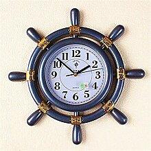 """DIDADI Wall Clock Die Anker Ruder im Europäischen Stil Wohnzimmer Wanduhr Wecker stumm ist einfach und elegant 16 """"Kreative Steuermann Uhren"""