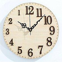 DIDADI Wall Clock Die holzmaserung Stereo Digital Clock Schlafzimmer Wohnzimmer Wanduhr Continental kreative Wanduhr mute 12 Zoll Jong
