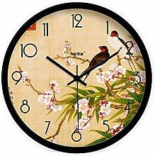 DIDADI Wall Clock Die königlichen Blumen kreative moderne chinesische Wohnzimmer Wanduhr mute Wanduhr Quarz Uhren 12.