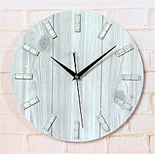 DIDADI Wall Clock Die Rekonstruktion der alten europäischen Stil angelegten Garten Holz Farbe Wanduhr Creative Brief über Nieten Holz Jong-Wand hängenden Wanduhr Tabelle 12 Zoll zu handhaben