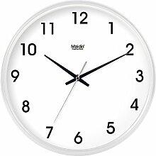 DIDADI Wall Clock Digitale Wanduhr minimalistischen modernen Wohnzimmer mute Quarzuhr stilvolle Büro Uhren mit Kalender, 10 Zoll, die normale Version weiß-119