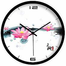 DIDADI Wall Clock Freundlichkeit zieht Reichtum Tinte Lotus modernes Wohnzimmer Schlafzimmer mute Wanduhr Quarz Uhren 12.