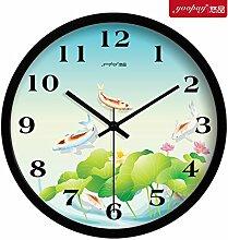 DIDADI Wall Clock Frische Blumen Garten Zimmer kreative Uhren der Schlafzimmer sind stumm zu Wanduhr moderne Quarzuhr 12 Zoll eingerichte