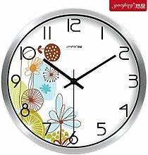 DIDADI Wall Clock Frische Blumen Garten Zimmer kreative Uhren der Schlafzimmer sind mit einem kontinentalen Mute Wanduhr moderne Quarzuhr 12 Zoll eingerichte