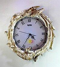 DIDADI Wall Clock Harz Wanduhr retro kreative Uhren Kunsthandwerk Peacock Jong - Salon 57 cm liefert Spezifikationen