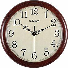 DIDADI Wall Clock Haus Schlafzimmer Dekor aus Holz Uhr kontinentalen Wohnzimmer Uhr Uhr Mute/Gebietes/Gebiet Holz Uhr/Gebiet 38cm