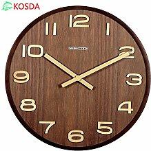 DIDADI Wall Clock Holz Uhr moderne Wohnzimmer Schlafzimmer Büro Wanduhr Runde Blockwand charts stumm Farbe 14 Zoll