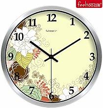 DIDADI Wall Clock Home creative Floral Clock idyllische mute Wohnzimmer Wanduhr Quarzuhr 12 Zoll