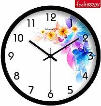 DIDADI Wall Clock Home Decor Garten stumm Fashion kreative Runde Wanduhr Zeichnung continental Schlafzimmer QUARZUHR, 30,5 cm