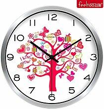 DIDADI Wall Clock Home kreative Uhr idyllische mute Wohnzimmer Wanduhr Quarzuhr 12 Zoll