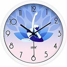 DIDADI Wall Clock Im modernen Fitnessraum Yoga Praxis thin mute Wohnzimmer Wall Clock Clock Quarzuhr 12 Zoll