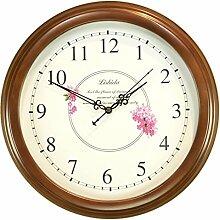"""DIDADI Wall Clock Massivholz Continental mute Wanduhr koreanischen Stil Wohnzimmer Wanduhr Chinese startseite Schautafel, 16"""", braun"""