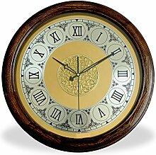 DIDADI Wall Clock Massivholz mute Wanduhr Nouveau Continental rund Quarzuhr Zeichnung einfache Rom, 20 Zoll, Sepia
