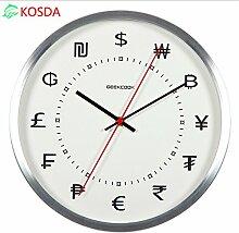 DIDADI Wall Clock Metallwand Uhr Tisch weiß Wohnzimmer Büro Wand Uhren Wand Uhr Schlafzimmer ruhig Uhr 12 Zoll