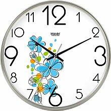 DIDADI Wall Clock Minimalistisch im Landhausstil home Dekoration Wohnzimmer Wanduhr Schlafzimmer mute Kalender Wecker Quarzuhr Kalender, 8 Zoll, die normale Version silber -