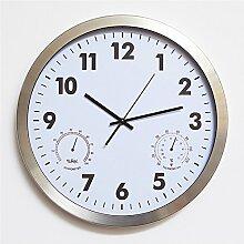 DIDADI Wall Clock Mit feuchten Thermometer stilvoll Kreative mute Wanduhr modernen minimalistischen Uhr Personalisierte digitale Uhren kunst Wohnzimmer 16 Zoll