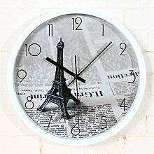 DIDADI Wall Clock Modern retro Paris Eiffel Wanduhr stilvoll kreative Zeitung Wanduhr Wanduhr 12 Zoll zu schmelzen