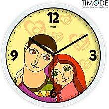 DIDADI Wall Clock Mute Braut lebende kunst Quarzuhr Liebe stilvolle Wanduhr 12 Zoll