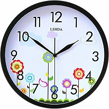 DIDADI Wall Clock Mute gedrückt, Uhren, stilvolles Wohnzimmer Wanduhr Wanduhr aus Metall 12 Zoll Landhausstil Wanduhr