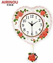 DIDADI Wall Clock Mute Uhren Wanduhr Zeichnung Modern Creative continental Wanduhr Schlafzimmer Liebe clock Wall Char