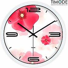 DIDADI Wall Clock Mute Wanduhr idyllische Kunst Uhren rote Blumen in Wohnzimmer Wand metall 12 Quarz.