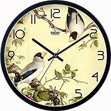 """DIDADI Wall Clock Neue chinesische Hochzeit Schlafzimmer Schautafel Wanduhr kunst Quarzuhren home Wohnzimmer mit einfachen Elstern Wanduhr, 12"""", Metall normale Edition -schwarz-"""