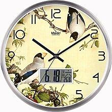 """DIDADI Wall Clock Neue chinesische Hochzeit Schlafzimmer Schautafel Wanduhr kunst Quarzuhren home Wohnzimmer mit einfachen Elstern Wanduhr, 16"""", metall Kalender Version - Silber -"""