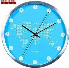 DIDADI Wall Clock Raum und Zeit - kreative Wohnzimmer Wanduhr im mediterranen Stil mute Metall Schautafel Uhren