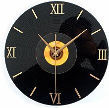 DIDADI Wall Clock Retro 3D Stereo schwarz Gummi CD Album Wanduhr stilvoll kreative Wand Wanduhr 12 Zoll