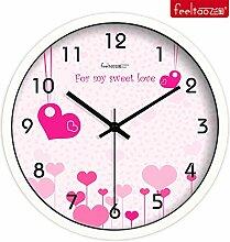 DIDADI Wall Clock Romantikhotel Weisses einfaches kontinentales Wanduhr und stilvolles Wohnzimmer mute 12 große Uhren.