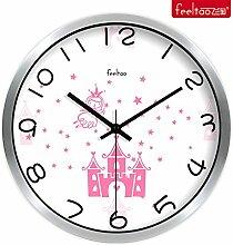 DIDADI Wall Clock Rosa Wanduhr stilvoll Kreative mute Wohnzimmer Uhren romantische minimalistischen Uhr 12 Zoll