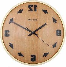 DIDADI Wall Clock Rückwärts Uhr solide Holz Uhr Salon europäisch anmutenden Garten Holz Uhr Wanduhr Flut 12 Zoll