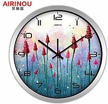 DIDADI Wall Clock Rundes, modernes kreative Wohnzimmer Garten Wanduhr minimalist Lavendel amerikanischen Quarzuhr - Tabelle 12 Zoll