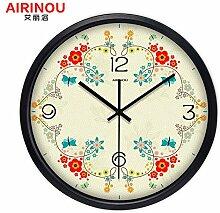 DIDADI Wall Clock Rundes, modernes kreative Wohnzimmer Garten Wand Uhr amerikanische Girlanden Schlafzimmer Quarzuhr - Tabelle 12 Zoll
