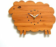 DIDADI Wall Clock Schafe Wanduhr kunst Wolken zaun Holz Tier schaf Wecker - Tabelle 30 cm