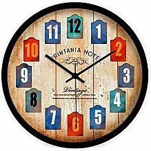 DIDADI Wall Clock Sepia Farbe kreative Continental modernes Wohnzimmer Schlafzimmer mute Wanduhr Quarz Uhren 12.