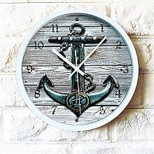 DIDADI Wall Clock Sepia stereoskopischen 3D-Anker Wanduhr ruder Schautafel wand Quarzuhr ländliche Idylle mute 12 Zoll