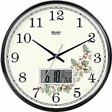 """DIDADI Wall Clock Stilvolle Garten Blumen continental Wanduhr creative mute Wohnzimmer Geschmackvoll eingerichtete Schlafzimmer clock Kalender Quarzuhren, 12"""" LCD, Edition schwarz -"""