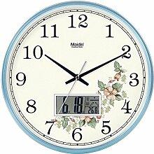 """DIDADI Wall Clock Stilvolle Garten Blumen continental Wanduhr creative mute Wohnzimmer Geschmackvoll eingerichtete Schlafzimmer clock Kalender Quarzuhren, 12"""" LCD, edition Blau -"""