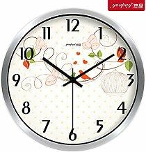 """DIDADI Wall Clock Stilvolle und innovative und frische Blumen Garten Lounge Uhren Schlafzimmer mute Wanduhr moderne Quarzuhr, 12"""", Silber Metallic Box"""