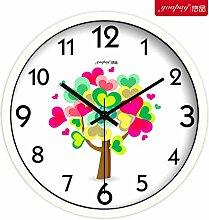 DIDADI Wall Clock Stilvolle und innovative und frische Blumen Garten Lounge Uhren Schlafzimmer mute Wanduhr moderne Quarzuhr 12 Zoll