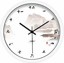 DIDADI Wall Clock Temperament Shanshui Chinesischen minimalistischen modernen, kreativen Wohnzimmer Schlafzimmer mute Wanduhr Quarz Uhren 12.