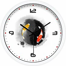 DIDADI Wall Clock Tintenfüllstand zu Fisch Chinesisch Modern Creative Wohnzimmer Schlafzimmer mute Wanduhr Quarz Uhren 12.
