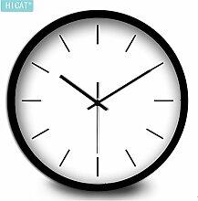 DIDADI Wall Clock Ultra-ruhigen, modernen kreativen Wohnzimmer Wanduhr minimalist Classic Home Dekoration Metall elektronische Quarzuhr 12 Zoll