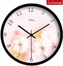 DIDADI Wall Clock Verzierende Ideen Wohnzimmer mute Wanduhr frische Blumen Garten Schlafzimmer Uhren Quarzuhr 12 Zoll