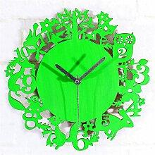 DIDADI Wall Clock Wald Tier Welt retro Garten Wanduhr verfallenen Grün Holz Wand wenn Wanduhren 12 Tiere der Karikatur 30 cm