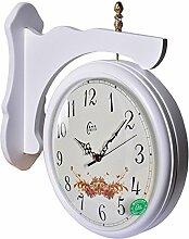 DIDADI Wall Clock Wand Uhr-Stil Wohnzimmer doppelseitige Doppelwand Uhr Garten Uhr solide Holz stilvolle mute