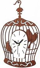 DIDADI Wall Clock Warme und elegante Möbel kreative Holz- Käfige Wanduhr retro Garten Wand wenn Wanduhren Quarz Uhr stumm 12 Zoll